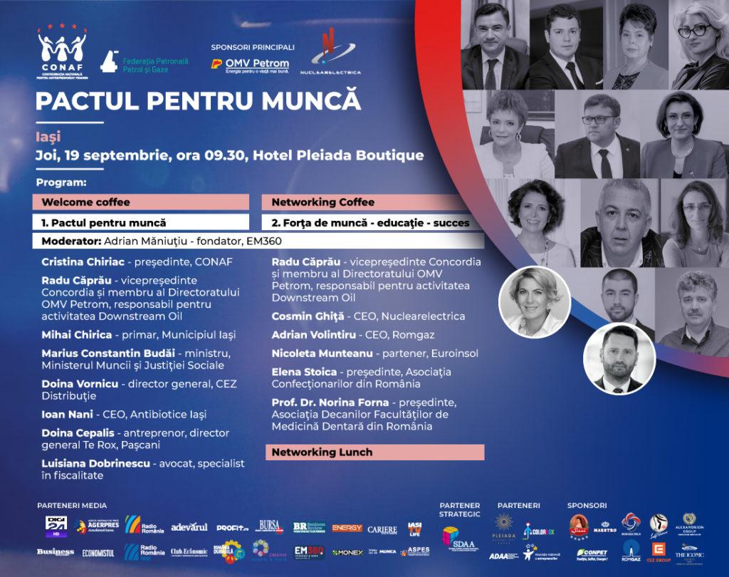 Pactul pentru Muncă reprezintă mai mult decât o serie de conferinte, reprezintă un sumar al problemelor cu care se confruntă antreprenorii. Fiecare domeniu are propriile particularități și de aceea avem nevoie de voi toți, de informații desprinse din lumea reală.  ⏩ Vino și tu la conferința: #pactulpentruMuncă!! 📍 Unde? la Iași 🔜 Când: 19 septembrie 🔝locația: Pleiada Boutique Hotel 💲intrarea este gratuită: trimite numele și prenumele la adresa de mail- 💡💡conferinte@conaf.ro
